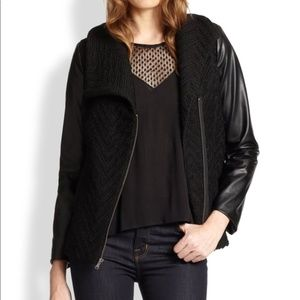 Ella Moss Black Faux Leather Sleeved Knit Jacket